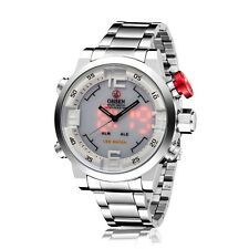 OHSEN Analog Digital Silver Stainless Steel Mens White Dial Time Wrist Watch