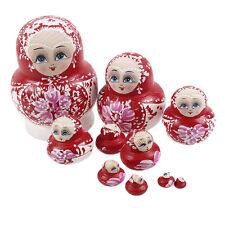 Russian Hand Painted Stacking Doll Fuchsia Matryoshka Nesting Dolls 10pcs