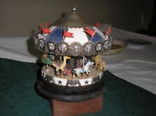 Wooden/Metal Merry-Go-Round Musical Box Figurine Rotating Carousel -