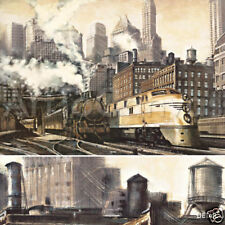 """54W""""x39H"""" THE STATION, CHICAGO by MATTHEW DANIELS - TRAIN CITY CANVAS"""