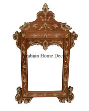 Handcrafted Syrian Moroccan Mother of Pearl Inlaid Wood Mirror Frame