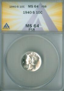 1940-S MERCURY DIME ANACS MS-64FSB FREE S/H (2127165)