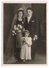 PHOTO ANCIENNE Mariage Marié 1950 Amann Gernsbach Fleur Costume de mariés Voile