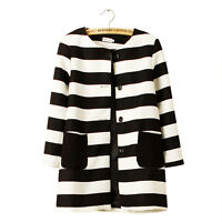 STRIPED LINED Blazer Jacket Overcoat Long Women White Black Size 6 8 10 12 14 UK