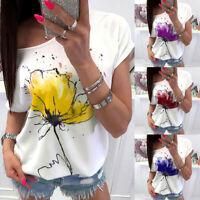 Ladies Women Summer Casual Floral Print Blouse Short Sleeve Loose Top Shirt Tee