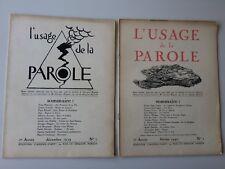 L'usage de la parole N°1 & 2 E/O 1939-40 Cahiers d'art Hugnet Tzara Dali Eluard
