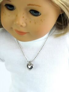 Silver Heart Necklace Jewelry made for 18 inch American Girl Doll Clothes