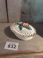 Vintage Italian Woven Porcelain Basket With Hand Painted Flowers/Italian