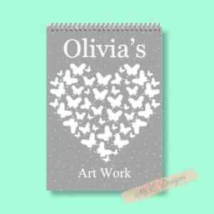 Grey/ White Butterfly Heart Personalised A4 Sketch pad/ Art book/ Drawing Book