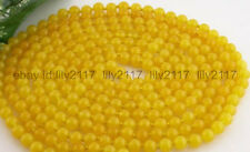 100 Inch New natural 8mm round yellow jade bead necklace AAA