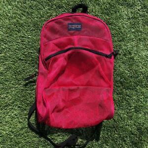 Jansport Pink Mesh Bag Backpack School Book Bag Beach