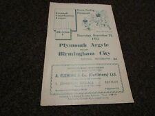 More details for plymouth argyle  reserves  v  birmingham city  reserves  1952/3  ~ december 25th