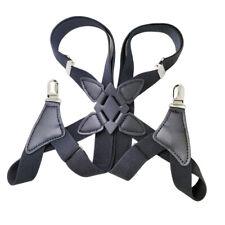 Mens Braces Heavy Duty Side Clips X-Back Belt Elastic Suspenders Adjustable
