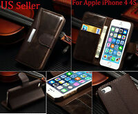 Real Genuine Leather Flip Wallet Slim Case Cover For New Apple iPhone 4 4S