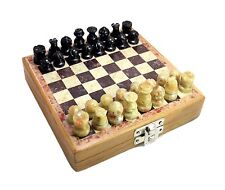 "6"" Chess Set Soap Stone Pieces wooden and Stone Box.Velvet liner storage. USA!!!"