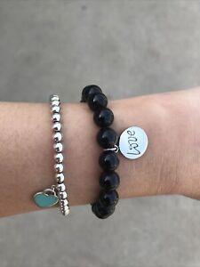 RARE Auth Tiffany & Co Paloma Picasso 10mm Black Onyx Beaded Ball Love Bracelet