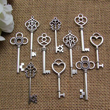 Mixed 20Pcs Antique Silver  Skeleton Key Alloy Keys Wedding  Key pendants charm
