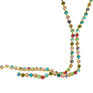 Made Using Swarovski Crystals Long Gold Multi Color Linked Necklace $155 S8