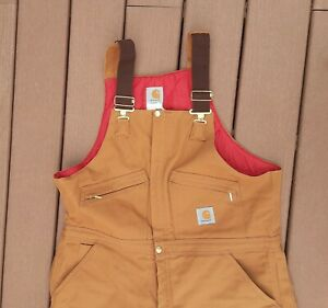 Carhartt Mens Insulated Bibs Quilt Lined Brown Red Size 40x30