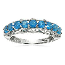 Pinctore Sterling Silver Neon Apatite Band Stackable Ring, Size 7
