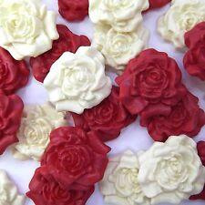 12 ROSSO PANNA ZUCCHERO ROSE Commestibile Pasta di zucchero fiori Wedding Cake Decorazioni