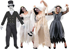 COUPLES HALLOWEEN COSTUME MENS WOMENS CORPSE BRIDE GROOM DEAD GHOST FANCY DRESS
