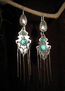 Drop Dangle Earrings Sterling Silver Chandelier Vintage * Beautiful Turquoise *