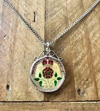 Enamel Coin Pendant & Necklace 1982. Coin Jewellery. Birthday Gift Idea