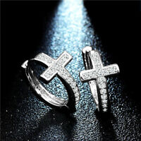 Women Elegant Silver Plated Cross Cubic Zirconia Hoop Huggie Earrings Jewelry
