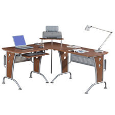 Vip Suite Ergonomic Corner L-Shaped Computer Desk Workstation - Mahogany