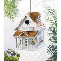 HOME GARDEN WHITE 2-STORY HAPPY HOME BIRD HOUSE WOOD - VERY UNIQUE