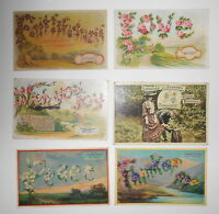 LOT OF 6 LANGUAGE OF FLOWERS ANTIQUE  POSTCARDS LOVE PANSY MONKSHOOD LILY ETC