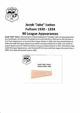 JAKE ICETON FULHAM 1930-1934 VERY RARE ORIGINAL HAND SIGNED CUTTING/CARD