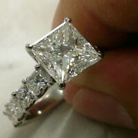 14k White Gold Over 3.45 Ct Princess Cut Diamond Solitaire Engagement Ring