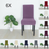 4/6PCS Chair Seat Cover Wedding Dining Banquet Party Decor 10Colour Soft Stretch