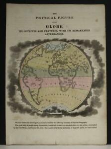 NATURAL HISTORY HEMISPHERE 1815 ANONYMOUS ANTIQUE COPPER ENGRAVED WORLD MAP