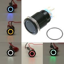 BLACK 5 Pin 19mm Led Light Metal Push Button Self-Locking Switch Waterproof 12V