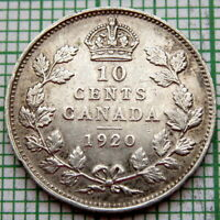 CANADA GEORGE V 1920 10 CENTS, SILVER HIGH GRADE