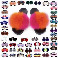 Womens Real 100% Fur Slides Fuzzy Furry Slippers Flip Flop Sliders Sandals Shoes