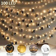 Photo Clip String Lights,king do way 100 LED Copper Wire Light,10M Photo Peg