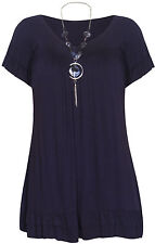 Ladies Women Necklace Plus Size Frill Gypsy Tunic Short Sleeve  V Neck Top Dress