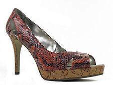 Alfani Women's Fairfax Peep-Toe Pumps Coral Red Snake Skin Size 8 M