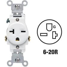 100 Pk Leviton 20A White Heavy-Duty 6-20R Grounding Single Outlet S02-05821-WSP
