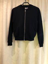 ASOS black bomber jacket coat zip up hoodie top size 8 small