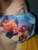Homemade Fabric Reusable Face Mask washable Christmas Rudolph And Hermey