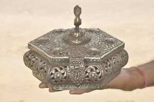 Old Brass & White Metal Handcrafted Engraved/Embossed Jali Cut Jewellery Box