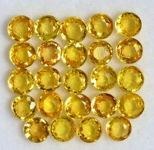 Natural Yellow Sapphire Round Cut 3 mm Lot 24 Pcs 3.55 Cts Yellow Loose Gemstone