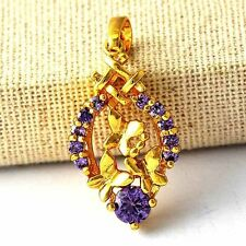 18 Yellow Gold Filled Butterfly Pendant Amethrysty  Womens Fashion jewelry