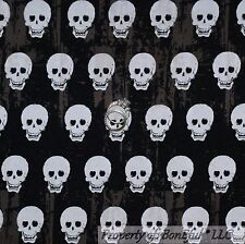 BonEful Fabric FQ Cotton Quilt Black White B&W Skeleton Skull Stripe Gothic Dot