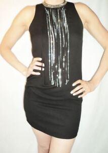 NWT S-Twelve Sexy Rhinestone Fringe Trim Sleeveless Black Mini-Dress